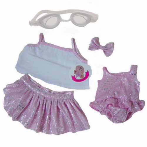 Pink Sparkle Swimsuit Vest Skirt with Goggles