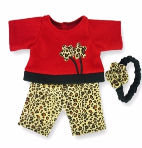Red Leopard Outfit & Head Bow